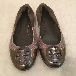 Tory Burch Reva 10.5 Metallic Snake Leather Suede